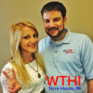Veronica with Eric Michaels of WTHI 99 in Terre Haute, IN