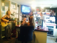 Veronica with John and Andi in the morning at WFMB in Springfield, IL.